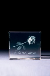 Bild von Rose I love You in Glasblock - 3D-Glas mit realistischem Textur-Effekt